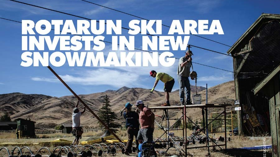 Workers in front of Rotarun snowmaking